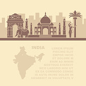 Template leaflets with a map and architectural landmarks of the India and place for text