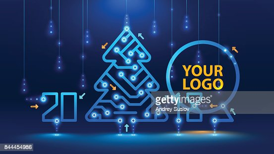 Template new year and Christmas cards in the style of new technologies. : Arte vettoriale