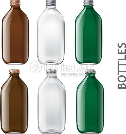 Template Of Glass Bottles Vector Art
