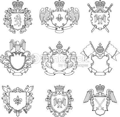 Vorlage Der Heraldischen Wappen Andere Leere Rahmen Für Symbol Oder ...