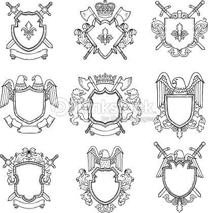 Vorlage Der Heraldischen Wappen Für Verschiedene Designprojekt ...