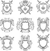 Template of heraldic emblems for different design project. Emblem vintage heraldic with wing and sword. Vector illustration