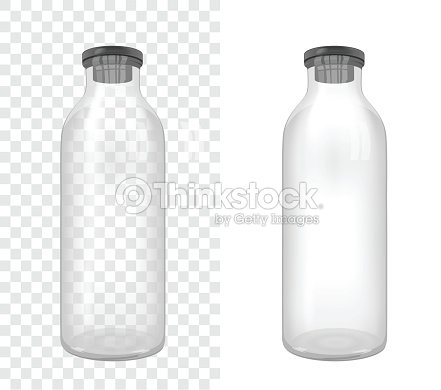 Template Of Transparent Glass Bottle With Rubber Cap Medical Vector Art