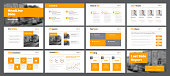 Template of white vector slides for presentations and reports with orange rectangles and squares. Universal design for business and advertising. Set