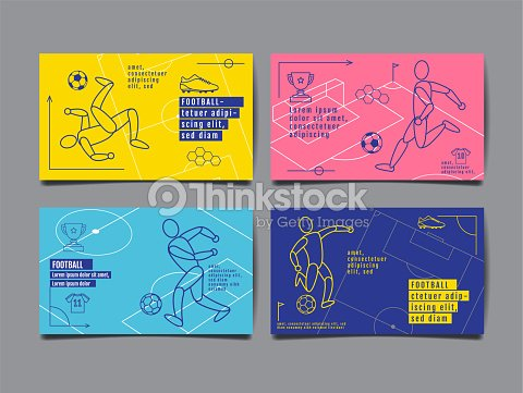 Template Sport Layout Design, Flat Design, single line,  Graphic Illustration, Football, Soccer, Vector Illustration. : arte vettoriale