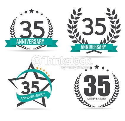 Template Symbol 35 Years Anniversary Vector Illustration Vector Art