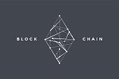Template symbol for blockchain technology. Rhombus with connected lines for brand, symbol, symboltype of smart contract block symbol. Design for decentralized transactions. Vector Illustration