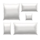 Template White Blank Realistic Square Pillow to Sleep Set. Empty Mock Up. Vector illustration