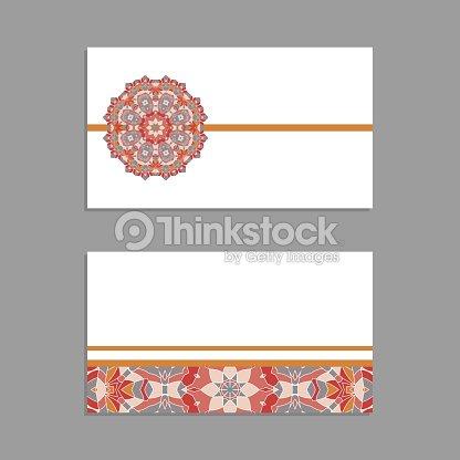 Modeles De Voeux Et Cartes Visite Brochures Couvre Avec Des Motifs Floraux Motif Oriental Mandala Invitation Sauf La Date RSVP