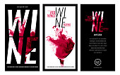 Templates for promotions or presentations of wine events. Illustration with liquid effect. Stains of red wine. Vector design