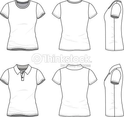 Plantillas de camiseta y camisa de polo.   Arte vectorial 08315dacf5477