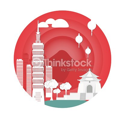 Temple and tower in taiwan. Attractions .Vector illustration. Paper cut style