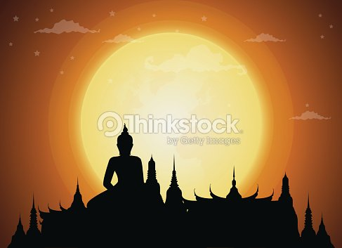 Temple Thailand Landmarks and Silhouette, full moon, Travel Attraction and Background
