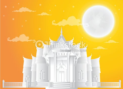 Temple Thailand Landmarks, full moon, Travel Attraction and Background