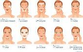 Ten basic women skincare steps. Cartoon vector illustration isolated on white background.