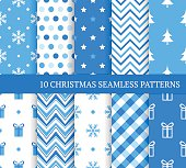 Ten blue Christmas different seamless patterns. Endless texture for wallpaper, web page background, wrapping paper and etc. Retro style. Fir, snowflakes and gifts.