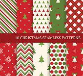 Ten Christmas different seamless patterns. Xmas endless texture for wallpaper, web page background, wrapping paper and etc. Retro style. Bells, snowflakes and christmas trees
