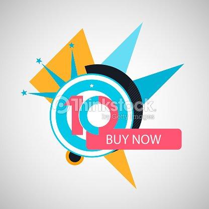 Ten Symbol Years Anniversary Icon Discount Vector Art Thinkstock