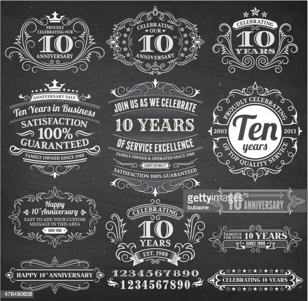 ten year anniversary hand-drawn chalkboard royalty free vector background