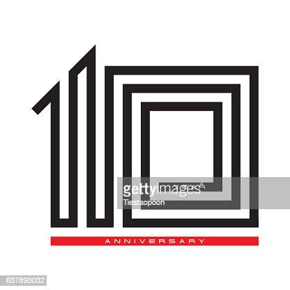 Ten year celebration anniversary for design logo concept, vector : stock vector