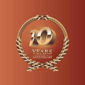 Ten years anniversary celebration design. Golden seal, vector illustration