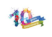 10 ten years anniversary. Vector watercolor splash paint