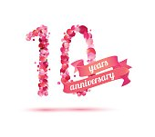 Ten (10) years anniversary sign of pink rose petals