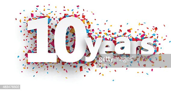 Ten years paper confetti sign : stock vector