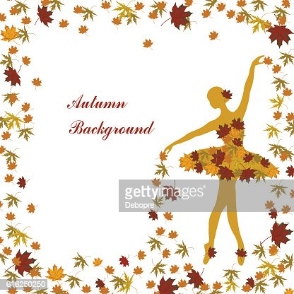 Tender ballerina is sprinkling maple leaves : Vector Art