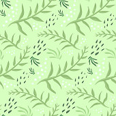Tender spring seamless pattern with green leaves and dots. Cute floral botanical texture with hand drawn doodle leaves for textile, wrapping paper, print design, background, surface