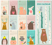2018 calendar with cute forest animals in cartoon style