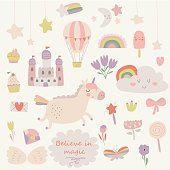 Vector set of cute little unicorn, rainbow, stars, flowers, castle, ice-cream, magic wand, diamond, butterfly, cupcake, wings in cartoon style. Patch badges, stickers, pins for girls