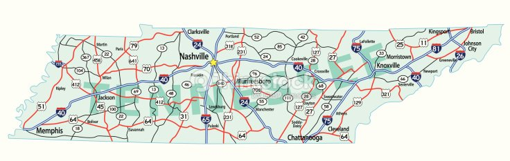 La Interestatal Mapa Del Estado De Tennessee Arte vectorial | Thinkstock