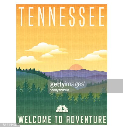 Tennessee, United States travel poster or luggage sticker. Scenic illustration of the Great Smoky Mountains with pine trees and sunrise. : stock vector