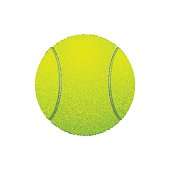 Tennis ball, isolated on white background. Vector illustration, closeup