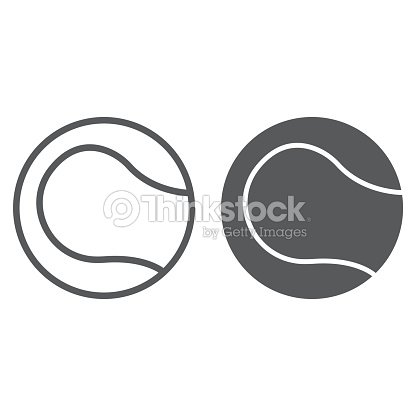 Tennis ball line and glyph icon, game and sport, ball sign, vector graphics, a linear pattern on a white background, eps 10.