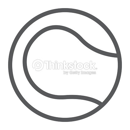 Tennis ball line icon, game and sport, ball sign, vector graphics, a linear pattern on a white background, eps 10.