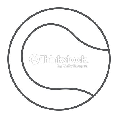 Tennis ball thin line icon, game and sport, ball sign, vector graphics, a linear pattern on a white background, eps 10.