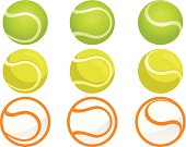 Set of tennis ball with different angles and styles