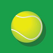 Tennis ball isolated with shadow on green background. Vector EPS10 illustration.
