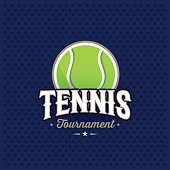 Modern professional tennis tournament symbol with ball. Sport badge for team, championship or league. Vector illustration.