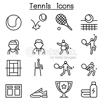 Tennis icon set in thin line style : stock vector