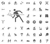 Tennis icon. Sport illustration vector set icons. Set of 48 sport icons