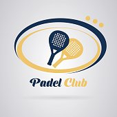 Logo padel tennis: Racquets to play the paddle. Yellow and blue. Vector image