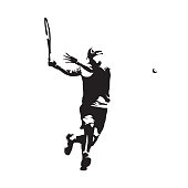 Tennis player, isolated vector silhouette. Ink drawing