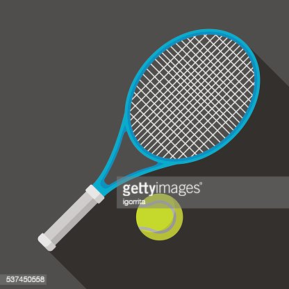 tennis racket and ball icon with long shadow : stock vector