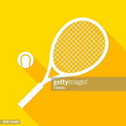 Tennis racket and ball with long shadow : stock vector