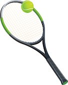 Tennis racket with a ball. Sports attributes. Vector illustration