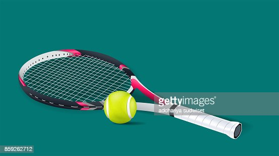 Tennis racket with a tennis ball on a tennis court isolated on green background. vector and illustration. : stock vector