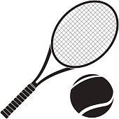 Tennis racket with ball. Vector illustration isolated on white background